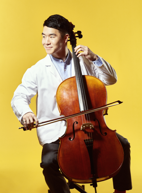 "Timothy Kim '19 - ""I've been playing cello for seventeen years. I play in a quartet regularly, as well as in orchestras here and there. Mostly, I practice on my own to relieve stress."