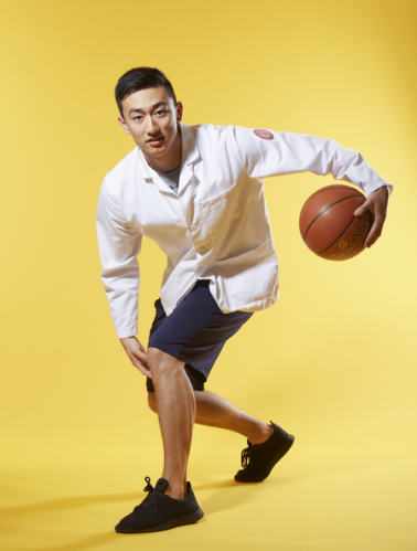 "Aaron Chen '21 -""To manage stress, I love playing basketball with my classmates in Olin Gym. It allows me to experience healthy competition and get in a great workout in the process."""