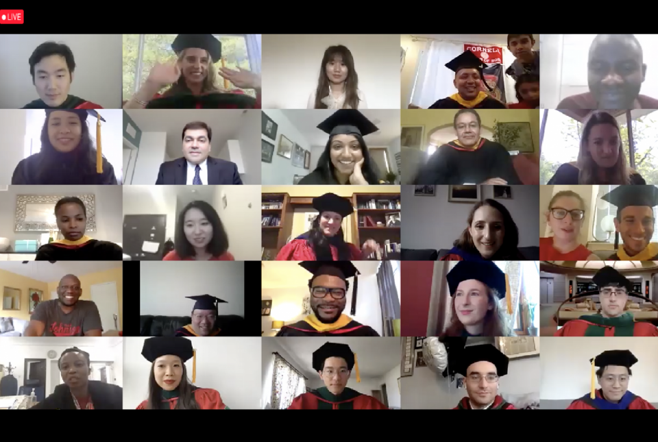 students attending a virtual graduation