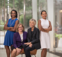 From left: Drs. Laura Riley, Barbara Hempsetad, Silvia Formenti and Lisa Newman named in Crain's 2019 Notable Women in Healthcare. Credit: Roger Tully